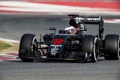 JENSON BUTTON (McLAREN HONDA) - F1 TEST. Jenson Button of McLaren Honda during Formula One test days 2016 at Circuit de Barcelona Catalunya on February 22, 2016 Royalty Free Stock Photo