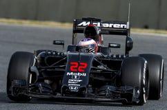 JENSON BUTTON (McLAREN HONDA) - F1 TEST. Jenson Button of McLaren Honda during Formula One test days 2016 at Circuit de Barcelona Catalunya on February 22, 2016 Royalty Free Stock Images