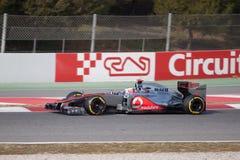 Jenson Button McLaren MP4-27 - de dagen Barcelona van de Test Stock Afbeeldingen