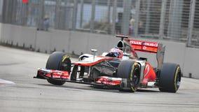 Jenson knapp som är tävlings- i GP för F1 Singapore Arkivbilder