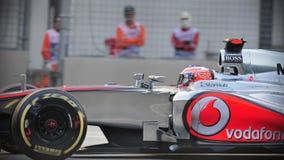 Jenson knapp som är tävlings- i GP för F1 Singapore Royaltyfri Bild