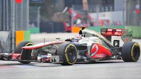 Jenson knapp som är tävlings- i GP för F1 Singapore Royaltyfria Foton
