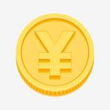 Jenu symbol na złocistej monecie Zdjęcie Royalty Free