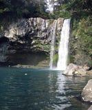Jeongbang瀑布在济州海岛 库存照片