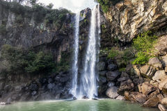 Jeongbang waterfall. A famous waterfall in Seogwipo. Jeju Island, South Korea Stock Photos