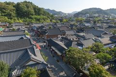 Jeonju Hanok Village, popular tourist attraction with Korean traditional houses in South Korea stock images