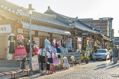 Hanboknam Korean traditional dress rental shop in Jeonju Hanok Village, South Korea royalty free stock photography