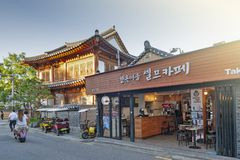 Local cafe and restaurant in Jeonju Hanok Village, South Korea royalty free stock photography