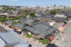 Jeonju Hanok Village, popular tourist attraction with Korean traditional houses in South Korea royalty free stock image