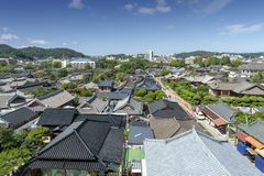 Jeonju Hanok Village, popular tourist attraction with Korean traditional houses in South Korea stock image
