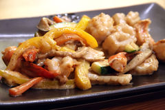 Jepanese teppanyaki. Teppanyaki japanese cuisine sauteed seafood and vegetables Stock Photos