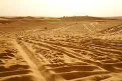 Jepps on the dunes of Sahara desert stock photography