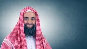 Jeque árabe islámico con la sonrisa de la barba Imágenes de archivo libres de regalías