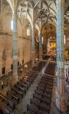 Indoor view in the Jeronimos Monastery in Lisbon, Portugal royalty free stock image