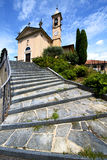 Jerago  old   closed brick tower sidewalk italy Royalty Free Stock Photography