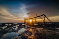 Jeram beach sunset. Selangor malaysia Stock Images