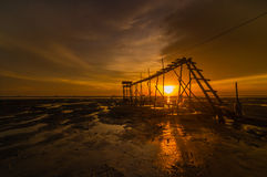 Jeram Beach sunset silhoutte Stock Photo