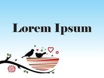 Jerarquía de amor con dos pequeños pájaros Imagen de archivo libre de regalías