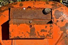 Jerarquía de la avispa en una caja de herramientas vieja del tractor Imagen de archivo