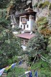 Jerarquía de los tigres monastary en Paro, Bhután Imágenes de archivo libres de regalías