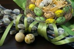 Jerarquía de Pascua, decoración del día de fiesta, flores, cordones y cintas, gatito Imagen de archivo libre de regalías