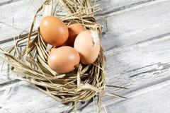 Jerarquía de Pascua, huevos en paja Fotografía de archivo