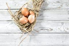 Jerarquía de Pascua, huevos en paja Fotos de archivo