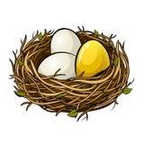 Jerarquice con el ejemplo de oro del vector del arte pop del huevo Fotografía de archivo