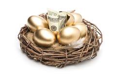 Jerarquice con los huevos de oro en un fondo blanco Huevos de oro en jerarquía con de los dólares Foto de archivo libre de regalías