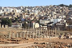Jerash, Ancient and Modern Stock Image