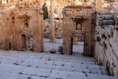 Jerash city, Jordan. Ruins of the Roman city of Gerasa, Jerash, Jordan Royalty Free Stock Photo
