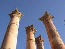 Jerash columns. Ancient roman columns at jerash royalty free stock photos