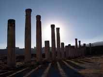 Jerash columns iii. Ancient roman columns at jerash royalty free stock images
