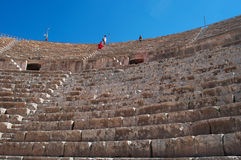 Jerash, the Gerasa of Antiquity, Jerash Governorate, Jordan, Middle East. Jordan, 04/10/2013: bleachers and stairs at the South Theater, built during the reign Royalty Free Stock Images