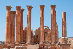 Jerash, Gerasa, columns, ruins, archeology, Jordan, Middle East. Jordan, 04/10/2013: the Corinthian columns of the Temple of Artemis, the patron goddess of the Stock Image