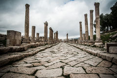 Jerash, Jordan. Ancient ruins of the biggest archeological roman site in Asia Royalty Free Stock Image