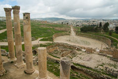 Jerash, Jordan. Ancient ruins of the biggest archeological roman site in Asia Royalty Free Stock Photo