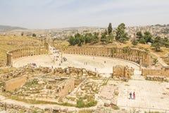 JERASH, JORDAN - APRIL 25, 2016: Roman Oval Forum Stock Image