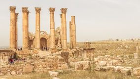 JERASH, JORDAN - APRIL 25, 2016:  Temple of Artemis in the Roman Royalty Free Stock Image