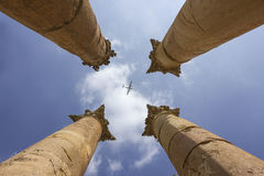 Jerash in jordan Columns and airplane Stock Photos