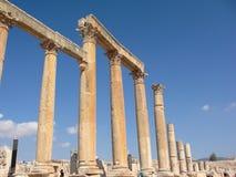 Jerash kolonner forntida Roman City Sand Arkivfoto