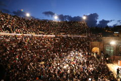Jerash Nights. Thousands of people gathered in Jerash (a Jordanian city) to listen to one of the lecturers stock image