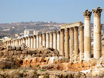 Jerash columns Royalty Free Stock Photography