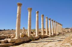 Jerash ruins. Columns in Jerash ruins, Jordan Stock Photo
