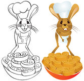 Jerboa chef. In chef's hat with baking - color and outline illustration Stock Image