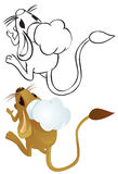 Jerboa chef outline. Jerboa chef in chef's hat - color and outline illustration Stock Image