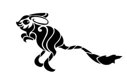 Jerboa - tribal. Jerboa drawn in tribal art style. Black silhouette isolated on white background Stock Image