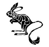 Jerboa - tribal. Jerboa drawn in tribal art style. Black silhouette isolated on white background Stock Photos