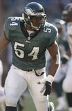 Jeremiah Trotter. Philadelphia Eagles LB Jeremiah Trotter, #54.  (image taken from color slide Royalty Free Stock Image