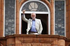 Jeremy Corbyn-bezoeken Redhouse, Merthyr Tydfil, Zuid-Wales, het UK royalty-vrije stock foto's